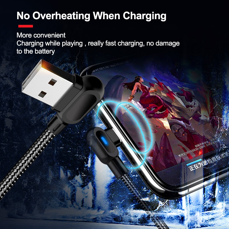Robotsky 90 Degree Fast Charging Micro USB Type C Cable USB-C Fast Charger Data Cable For Samsung S8 S9 S10 Xiaomi Huawei Phones