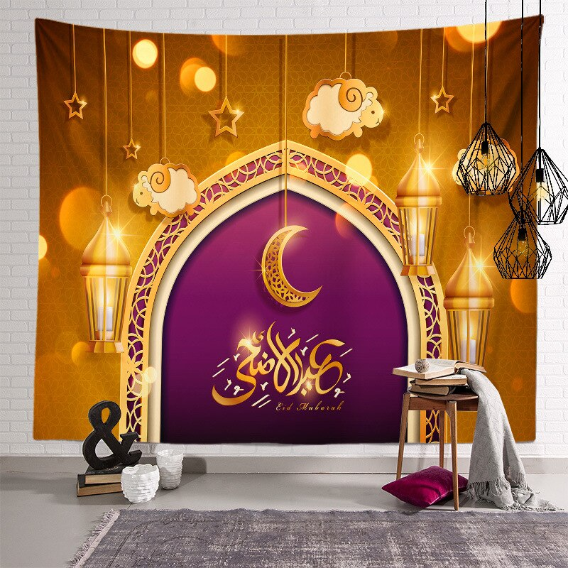 Happy Ramadan Decorations for Home Wall Hanging Polyester Tapestry Moon Star Eid Mubarak Decor Ramadan Kareem Decor Living Room