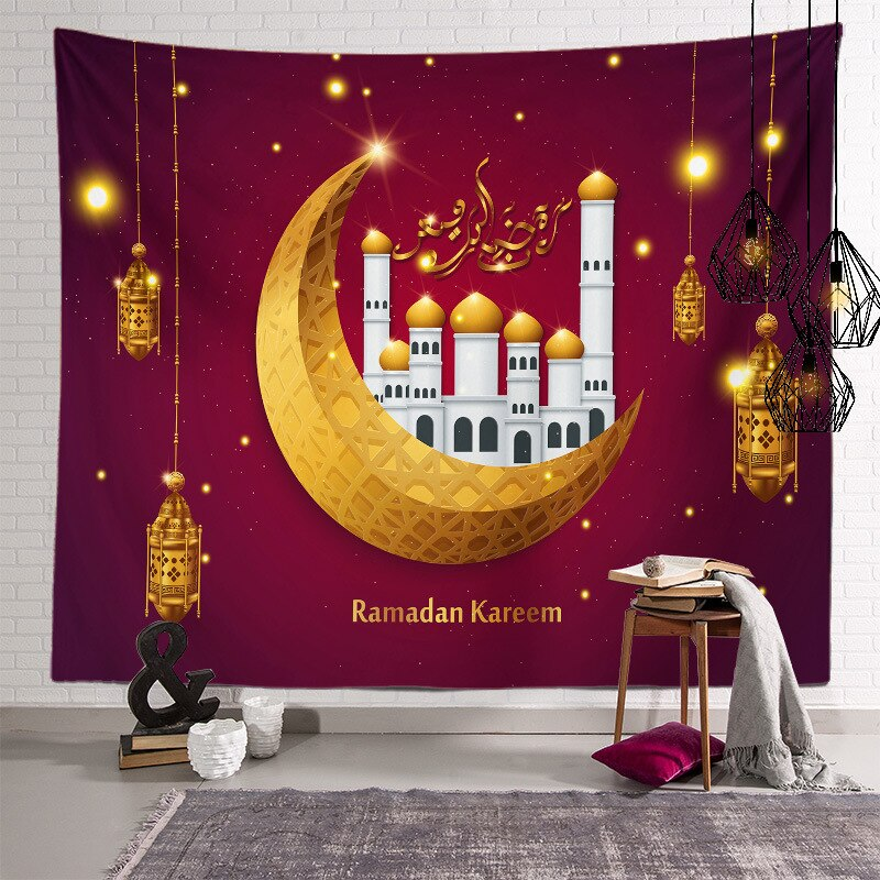 Ramadan Kareem Decor Wall Hanging Tapestry Moon Star ramadan decorations for home happy ramadan eid mubarak Muslim Festival