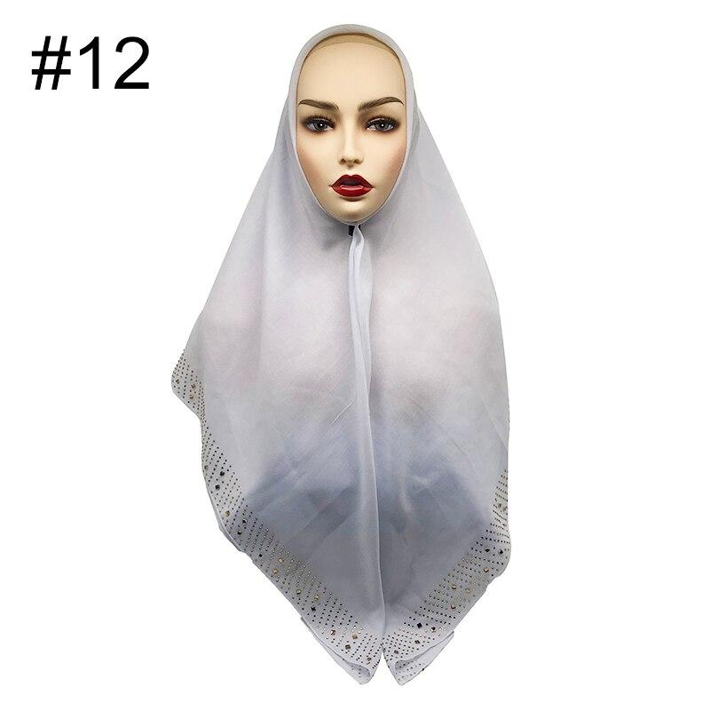 Malaysia bandana Hot rhinestone shawls Tudung Islamic hijab Square scarf Women muffler Muslim headscarf Solid scarf 100pcslot