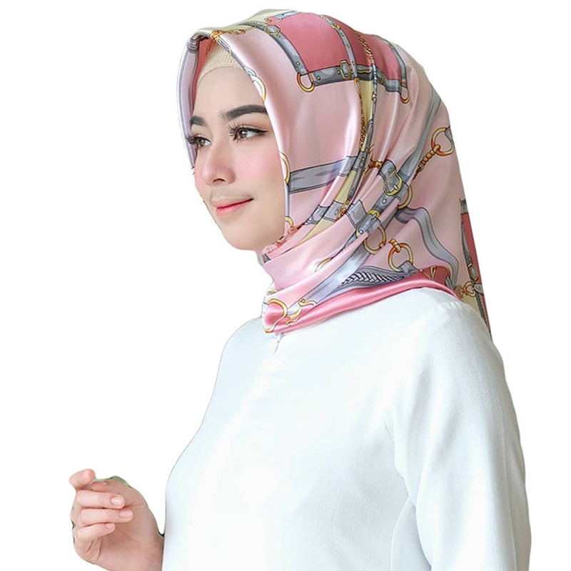 Women Fashion Satin Hijab Printed Hijab Islamic Muslim Women's Head Scarf Ladies Tudung Silk Shawl Turban