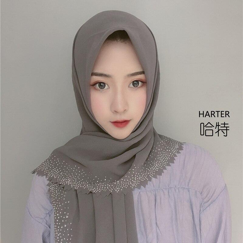Muslim Headscarf Chiffon Rhinestone Cutting Square Hijab Pearl Chiffon Large Square Scarf Veil Style Casual Tudung